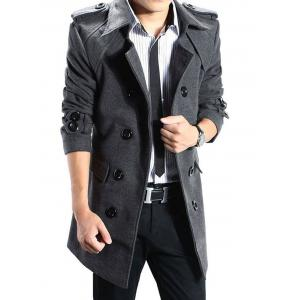 Double Breasted Epaulet Back Slit Peacoat with Belt - Deep Gray - L
