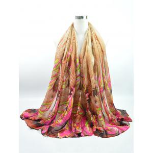 Voile Multicolor Watercolour Printing Gossamer Shawl Scarf