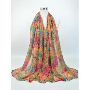 Voile Nostalgic Pattern Gossamer Shawl Scarf - Pink And Yellow And Green - One Size