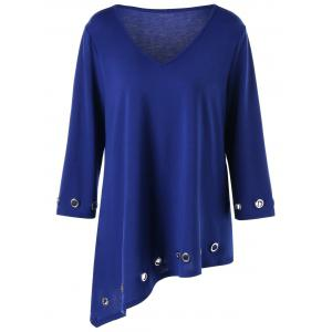 Plus Size Eyelet Embellished Asymmetric Tunic T-shirt - Blue - 5xl