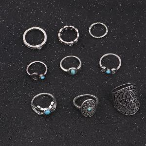 Faux Turquoise Oval Moon Ring Set - Argent