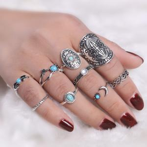 Faux Turquoise Oval Moon Ring Set
