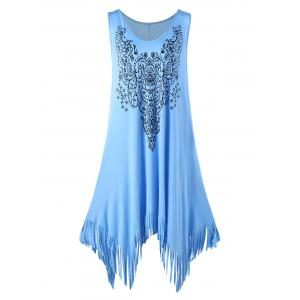 Plus Size Floral Fringed Handkerchief Flowy Dress - Blue - 2xl