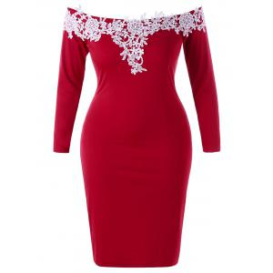 Plus Size Lace Trim Off The Shoulder Dress - Red - 2xl