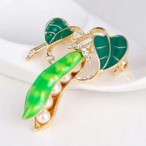 Faux Pearl Rhinestone Inlay Legume Enamel Brooch - LIGHT GREEN