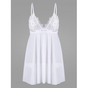 Mesh Embroidered Sheer Slip Babydoll - White - M