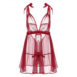 Sheer Mesh Lace Insert Slip Babydoll - Wine Red - One Size