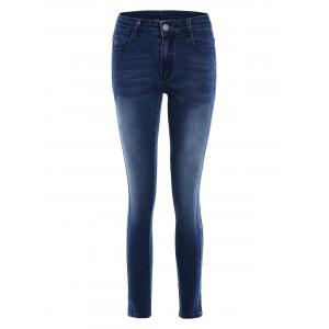 Pockets Slim Fitted Pencil Jeans - Deep Blue - L