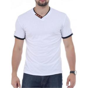 V Neck Button Embellish Short Sleeves T-shirt