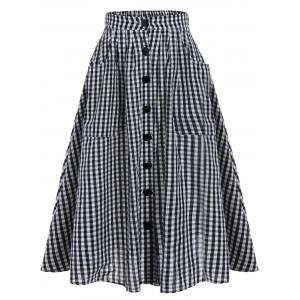 Tartan Print Pockets Button Up Midi Skirt - Black White - One Size