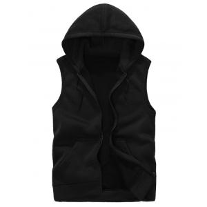 Hooded Zip Up Rib Panel Fleece Waistcoat - Black - S
