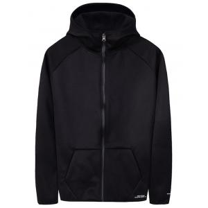 Raglan Sleeve Zip Up Plain Hoodie - Black - L