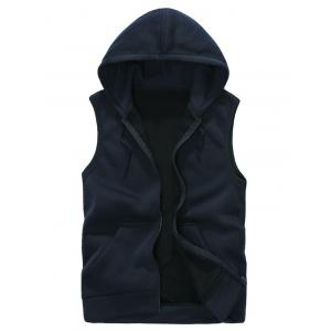 Hooded Zip Up Rib Panel Fleece Waistcoat