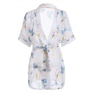 Floral Chiffon Sheer Robe with Belt - White - One Size