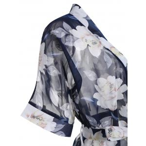 Floral Chiffon Sheer Robe with Belt -