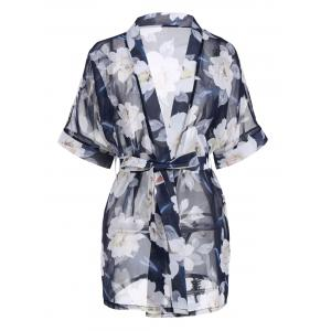 Floral Chiffon Sheer Robe with Belt - Cerulean - One Size
