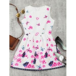 Butterfly Floral Print Flared Mini Dress
