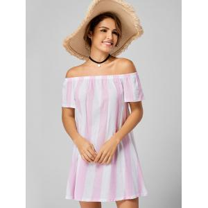Stripe Off The Shoulder Trapeze Dress -