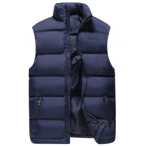 Zip Pocket Embroidered Quilted Vest - Deep Blue - 2xl