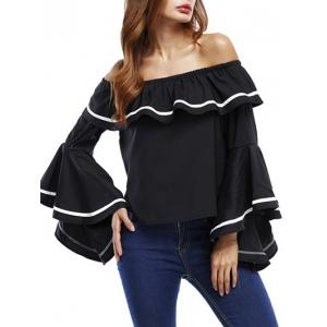 Ruffle Bell Sleeve Off The Shoulder Blouse - Black - L