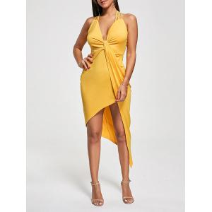 Club Cutout Criss Cross Front Twist Asymmetric Dress