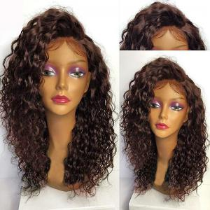Deep Side Part Long Shaggy Curly Lace Front Synthetic Wig - Deep Brown