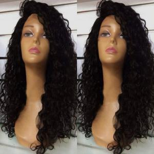 Deep Side Part Fluffy Long Curly Lace Front Synthetic Wig