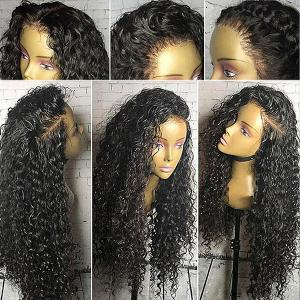 Free Part Long Shaggy Curly Lace Front Synthetic Wig - Black