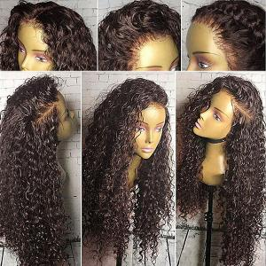 Free Part Long Shaggy Curly Lace Front Synthetic Wig - Deep Brown