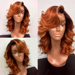 Medium Shaggy Deep Side Part Body Wave Lace Front Synthetic Wig - Pearl Kumquat - 14inch