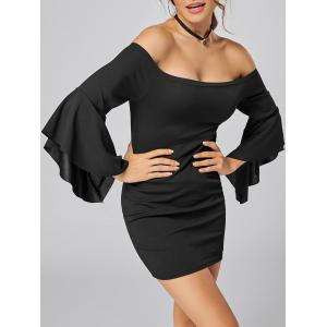 Bell Sleeve Off The Shoulder Bodycon Mini Dress