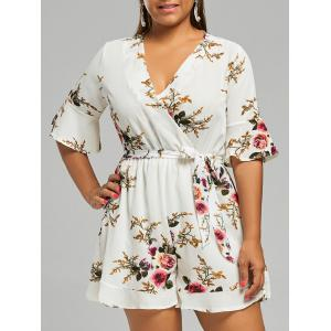 Belted Plus Size Floral Chiffon Dressy Romper