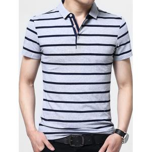 Half Button Stripe Golf Shirt