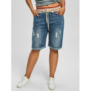 Plus Size Denim Ripped Shorts