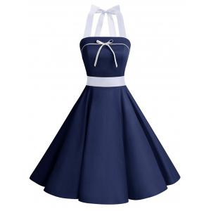 Lace Up Bowknot Halter Pin Up Dress - Deep Blue - L