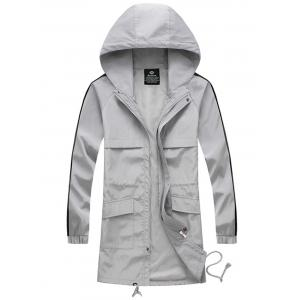 Drawstring Hooded Side Stripe Zip Up Polyester Coat - Gray - M