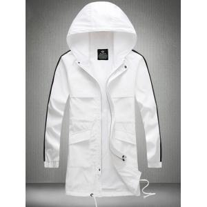 Drawstring Hooded Side Stripe Zip Up Polyester Coat - WHITE L