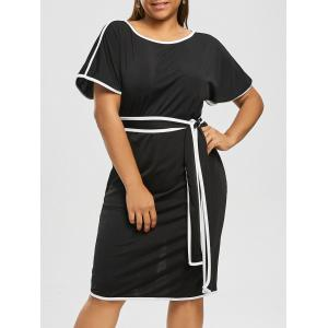 Plus Size Knee Length Modest Dress - Black - 4xl