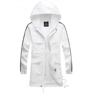 Drawstring Hooded Side Stripe Zip Up Polyester Coat - White - 2xl