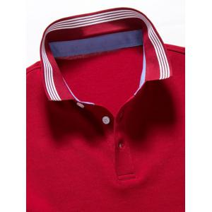 Short Sleeve Striped Trim Golf Shirt - RED 3XL