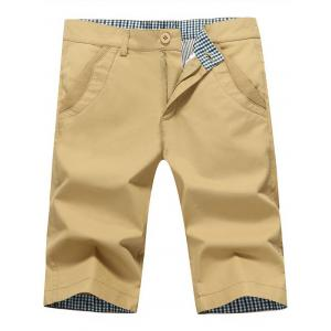 Zip Fly Back Pockets Bermuda Shorts - Khaki - 38