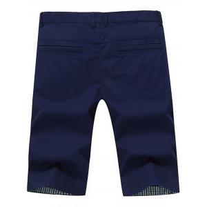 Zip Fly Back Pockets Bermuda Shorts - DEEP BLUE 38