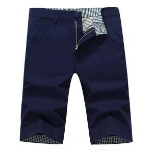 Zip Fly Back Pockets Bermuda Shorts - Deep Blue - 34