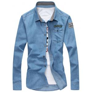 Graphic Appliques Long Sleeve Chambray Shirt