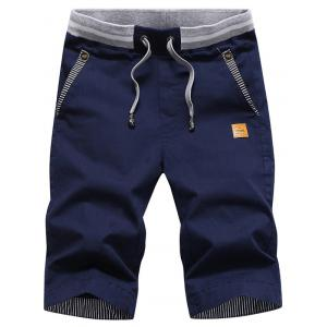 Stripe Panel Drawstring Bermuda Shorts - Deep Blue - Xl