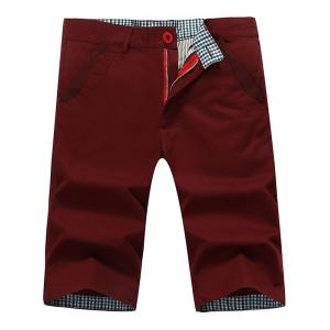 Zip Fly Back Pockets Bermuda Shorts - Wine Red - 38