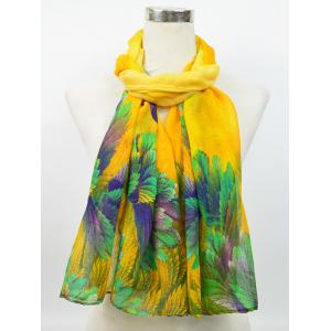 Voile Vintage Blossom Pattern Gossamer Scarf - YELLOW