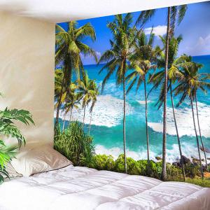 Seaside Coconut Tree Wall Hanging Tapestry - Sapphire Blue - W79 Inch * L59 Inch