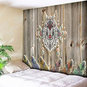 Wood Grain Wall Hanging Wolf Printed Tapestry - Wood Color - W79 Inch * L59 Inch