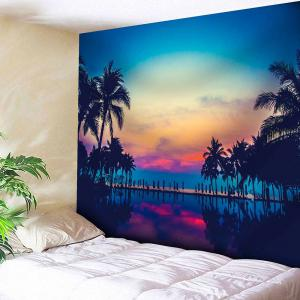 Microfiber Wall Hanging Coconut Trees Sunset Tapestry